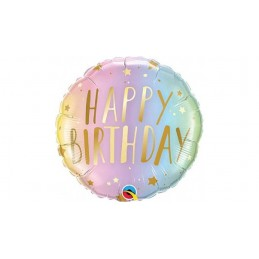 Palloncino tondo mylar Happy birthday 46 cm