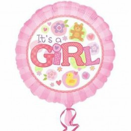 Palloncino It's a Girl Rosa tondo