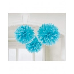 Festone decorativo Azzurro Fluffy decoration 3Pz