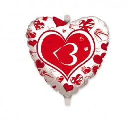 "Palloncino Mylar Cuore cm.45 SMS Love 3 (18"" )"
